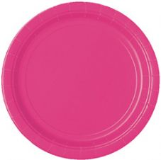 "16 Hot Pink Paper Party Plates 9""/23cm"
